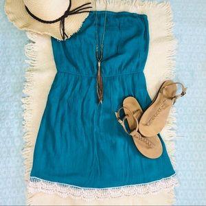 Beachy Strapless Dress with Crochet Hemline Size L